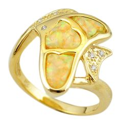 Natural white australian opal (lab) 925 silver gold fish ring size 8.5 a61125