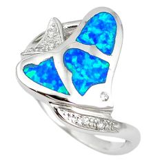 Natural blue australian opal (lab) 925 silver fish ring jewelry size 8.5 a61431