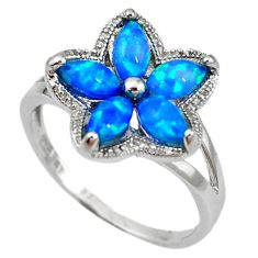 Natural blue australian opal (lab) 925 sterling silver ring size 8.5 a61443