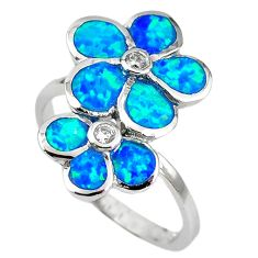 Natural blue australian opal (lab) topaz 925 silver ring jewelry size 8 a61450