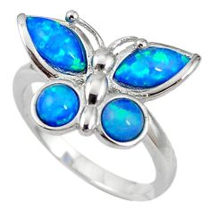Natural blue australian opal (lab) 925 silver butterfly ring size 8 a61461