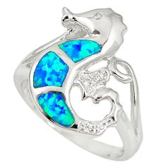 Natural blue australian opal (lab) 925 silver seahorse ring size 7.5 a61511