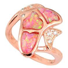 2.51cts pink australian opal (lab) topaz 925 silver 14k gold ring size 8 a61808