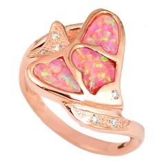 2.51cts pink australian opal (lab) 925 silver 14k rose gold ring size 8.5 a61810