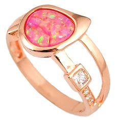 1.94cts pink australian opal (lab) topaz 925 silver 14k gold ring size 9 a61821