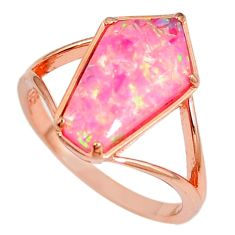 3.44cts pink australian opal (lab) 925 silver 14k rose gold ring size 8 a61853
