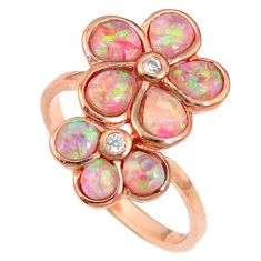 2.12cts pink australian opal (lab) 925 silver 14k rose gold ring size 8.5 a61905