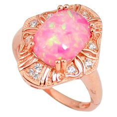 3.32cts pink australian opal (lab) 925 silver 14k rose gold ring size 7.5 a61957