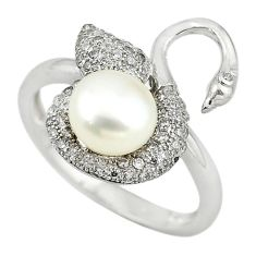Natural white pearl round topaz 925 sterling silver ring size 8.5 a62677