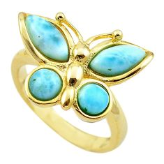 Natural blue larimar 925 silver 14k gold butterfly ring size 7 a63102