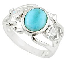 925 sterling silver natural blue larimar white topaz ring size 7.5 a63140