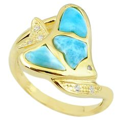 Natural blue larimar topaz 925 silver 14k gold ring jewelry size 8 a63313