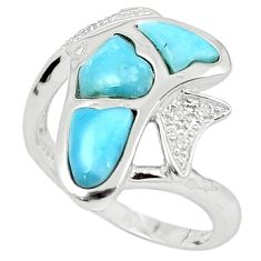 Natural blue larimar topaz 925 sterling silver ring size 8.5 a63330