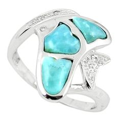 Natural blue larimar topaz 925 sterling silver ring jewelry size 9.5 a63334