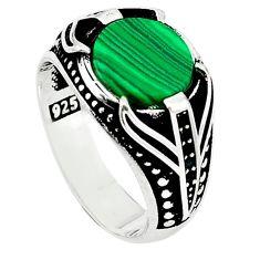 Natural green malachite (pilot's stone) 925 silver mens ring size 10 a63767