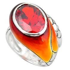 Garnet quartz enamel 925 sterling silver ring jewelry size 7 a64033