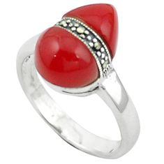 Natural honey onyx marcasite 925 sterling silver ring size 10 a64079