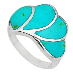 925 sterling silver fine green turquoise enamel ring size 6.5 a64337