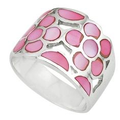 Pink pearl enamel 925 sterling silver ring jewelry size 8 a64378
