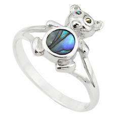 Green abalone paua seashell enamel 925 silver ring jewelry size 9 a64424