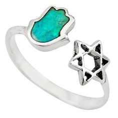 925 silver green turquoise tibetan adjustable ring jewelry size 8 a65519