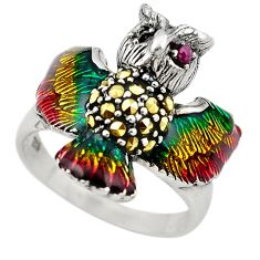 Art nouveau red ruby marcasite enamel 925 silver owl ring size 8 a65570