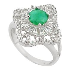 Natural green emerald topaz 925 sterling silver ring jewelry size 7 a65699