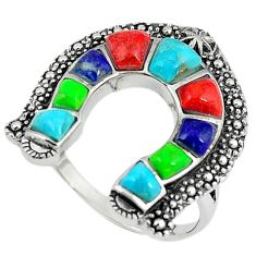 925 silver southwestern multi color copper turquoise ring size 9.5 a65948
