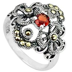 Natural red garnet round marcasite 925 sterling silver ring size 6 a66426