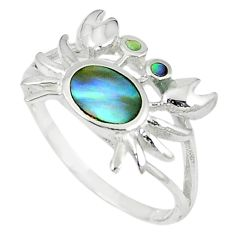 Green abalone paua seashell 925 sterling silver crab ring size 6 a66719