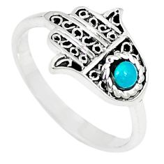 Natural green turquoise tibetan 925 silver hand of god hamsa ring size 8 a66988