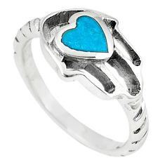 Green turquoise tibetan 925 silver hand of god hamsa ring size 7 a66990
