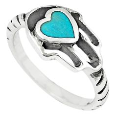 Green turquoise tibetan 925 silver hand of god hamsa ring size 7 a66991