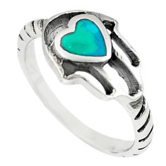 Green turquoise tibetan 925 silver hand of god hamsa ring size 8 a67003