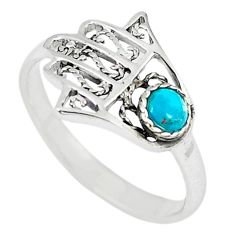 Natural green turquoise tibetan 925 silver hand of god hamsa ring size 7 a67019