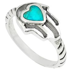 Green turquoise tibetan 925 silver hand of god hamsa ring size 8 a67028