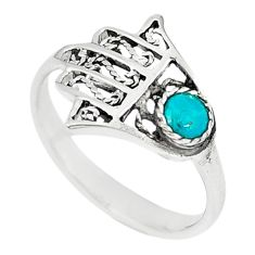 Green turquoise tibetan 925 silver hand of god hamsa ring size 6.5 a67031