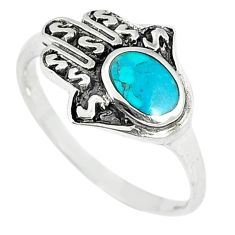 Green turquoise tibetan 925 silver hand of god hamsa ring jewelry size 9 a67035