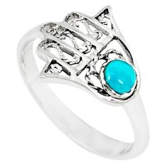 925 silver natural green turquoise tibetan hand of god hamsa ring size 7 a67040