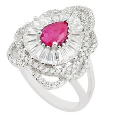 Natural red ruby pear topaz 925 sterling silver ring jewelry size 9 a67153