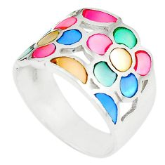 925 sterling silver multi color blister pearl enamel ring size 8.5 a67828