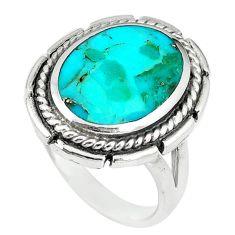 Green kingman turquoise enamel 925 sterling silver ring size 8 a67995