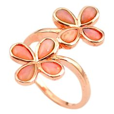 Natural pink opal 925 sterling silver 14k rose gold ring jewelry size 8 a68222