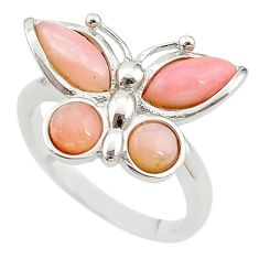 Natural pink opal 925 sterling silver butterfly ring jewelry size 7 a68241