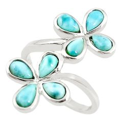 Natural blue larimar pear 925 sterling silver ring jewelry size 7.5 a68627