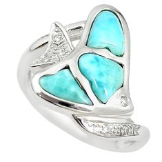 Natural blue larimar topaz 925 sterling silver fish ring size 8.5 a68645