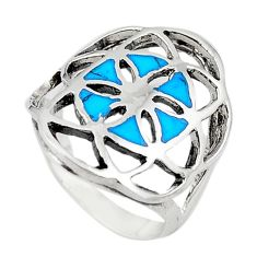 925 sterling silver fine blue turquoise enamel ring jewelry size 6 a69491