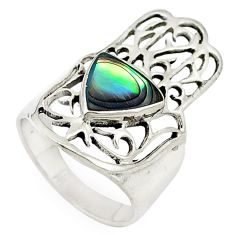 Green abalone paua seashell 925 silver hand of god hamsa ring size 6 a69545