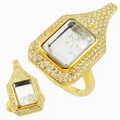 White cubic zirconia topaz 925 silver 14k gold moving stone ring size 6 a70211