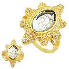 White cubic zirconia topaz 925 silver 14k gold moving stone ring size 8 a70214